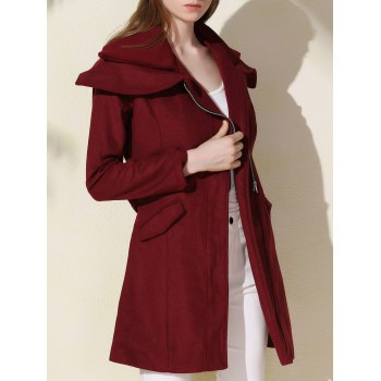 Stylish Long Sleeve Turn-Down Collar Spliced Zip Up Women's Belted Coat