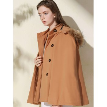 Fashionable Faux Fur Hooded Wool Coat For Women - CAMEL M