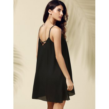 Brief Style Spaghetti Strap Sleeveless Black Criss-Cross Women's Dress - BLACK M
