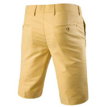 Men 's  Casual jambes droites Zip Fly Solide Couleur Shorts - Jaune XL