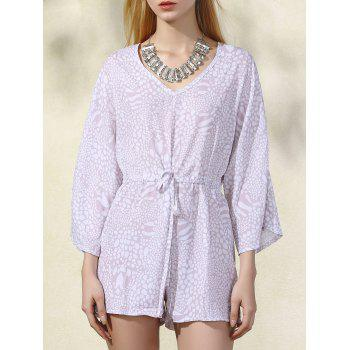 Stylish V-Neck Batwing Sleeve Printed Drawstring Romper For Women - APRICOT L