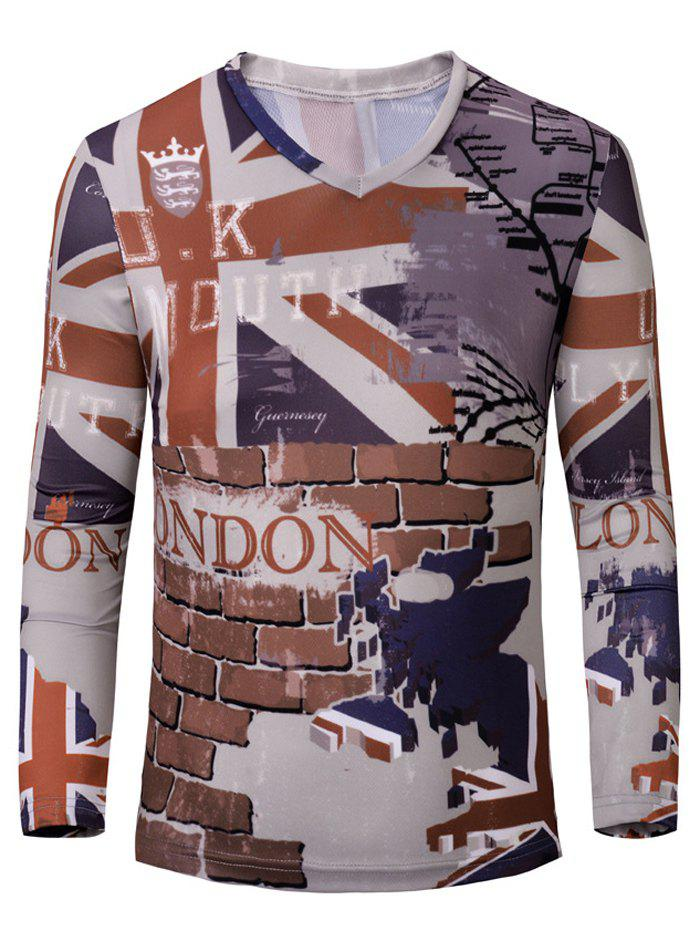 Casual 3D Wall Printed Men's Long Sleeves T-Shirt - COLORMIX M