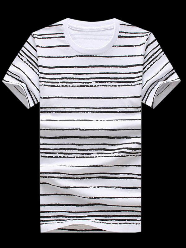 Plus Size Round Neck Striped Printed Short Sleeve Men's T-Shirt - BLACK 2XL
