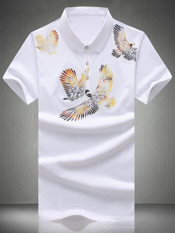 Plus Size Turn-Down Collar Eagles Imprimer Polo T-shirt de manches courtes hommes - [
