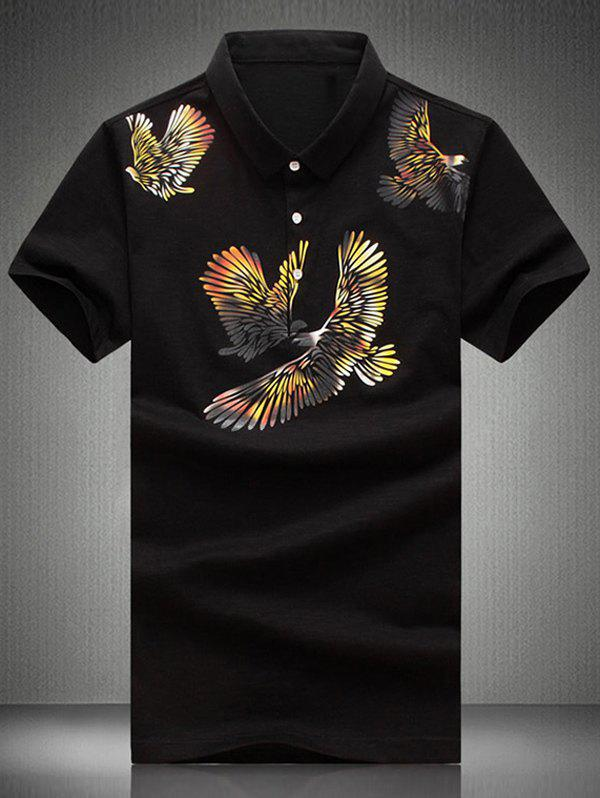 Plus Size Turn-Down Collar Eagles Print Short Sleeve Men's Polo T-Shirt - BLACK L