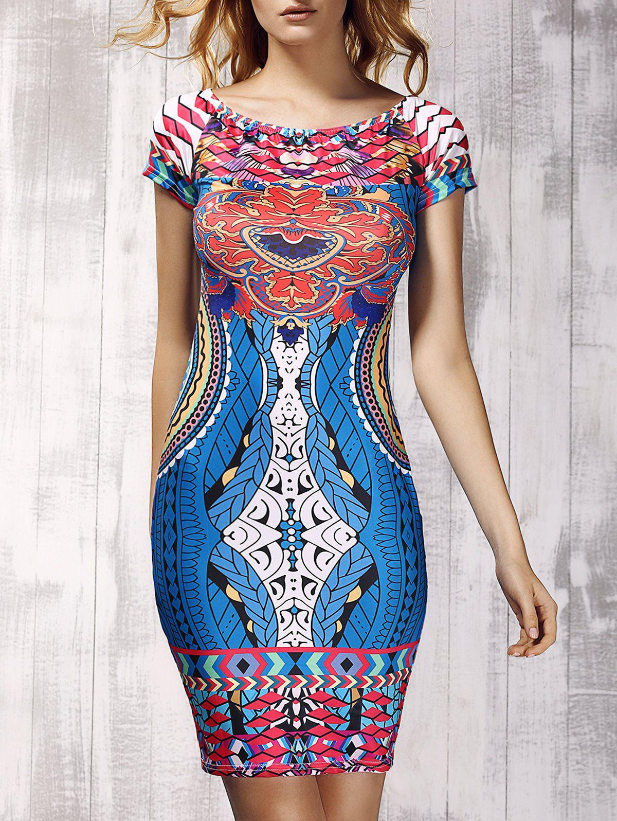 Novelty Off-The-Shoulder Short Sleeves Printed Women's Sheath Dress - COLORMIX M