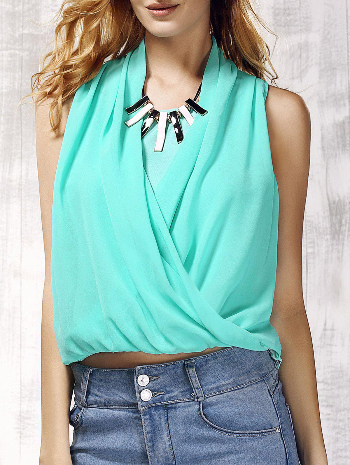 Trendy V-Neck Solid Color Chiffon Spliced Womens Tank TopWomen<br><br><br>Size: S<br>Color: MINT GREEN