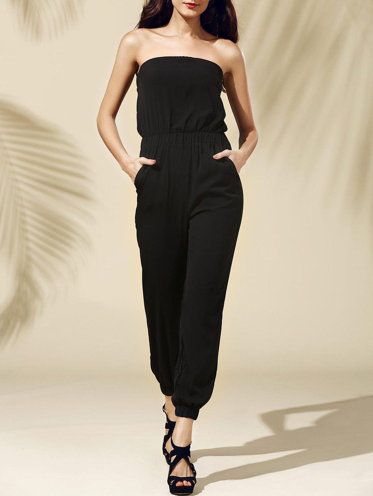 Attractive Strapless Pocket Design Women's Jumpsuit - BLACK S