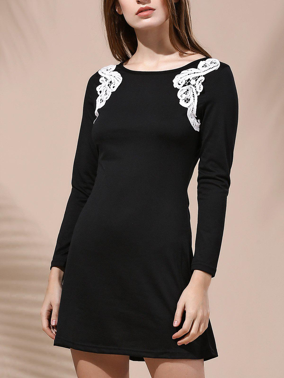 Stylish Women's Round Collar Long Sleeve Patch Lace Design Dress - BLACK S