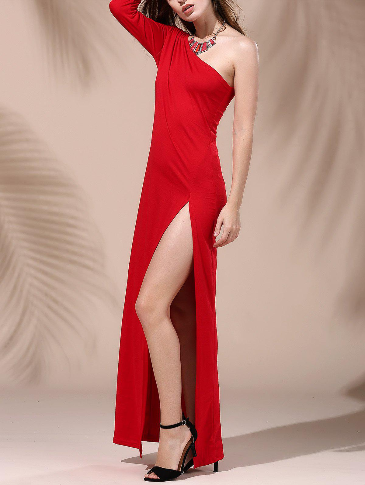 Long Sleeve One Shoulder Furcal Pure Color Dress For Women - RED 3XL