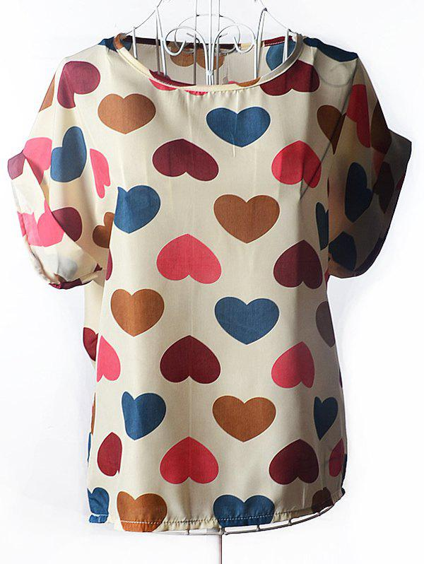 Trendy Women's Plus Size Scoop Neck Colorful Heart Pattern Blouse