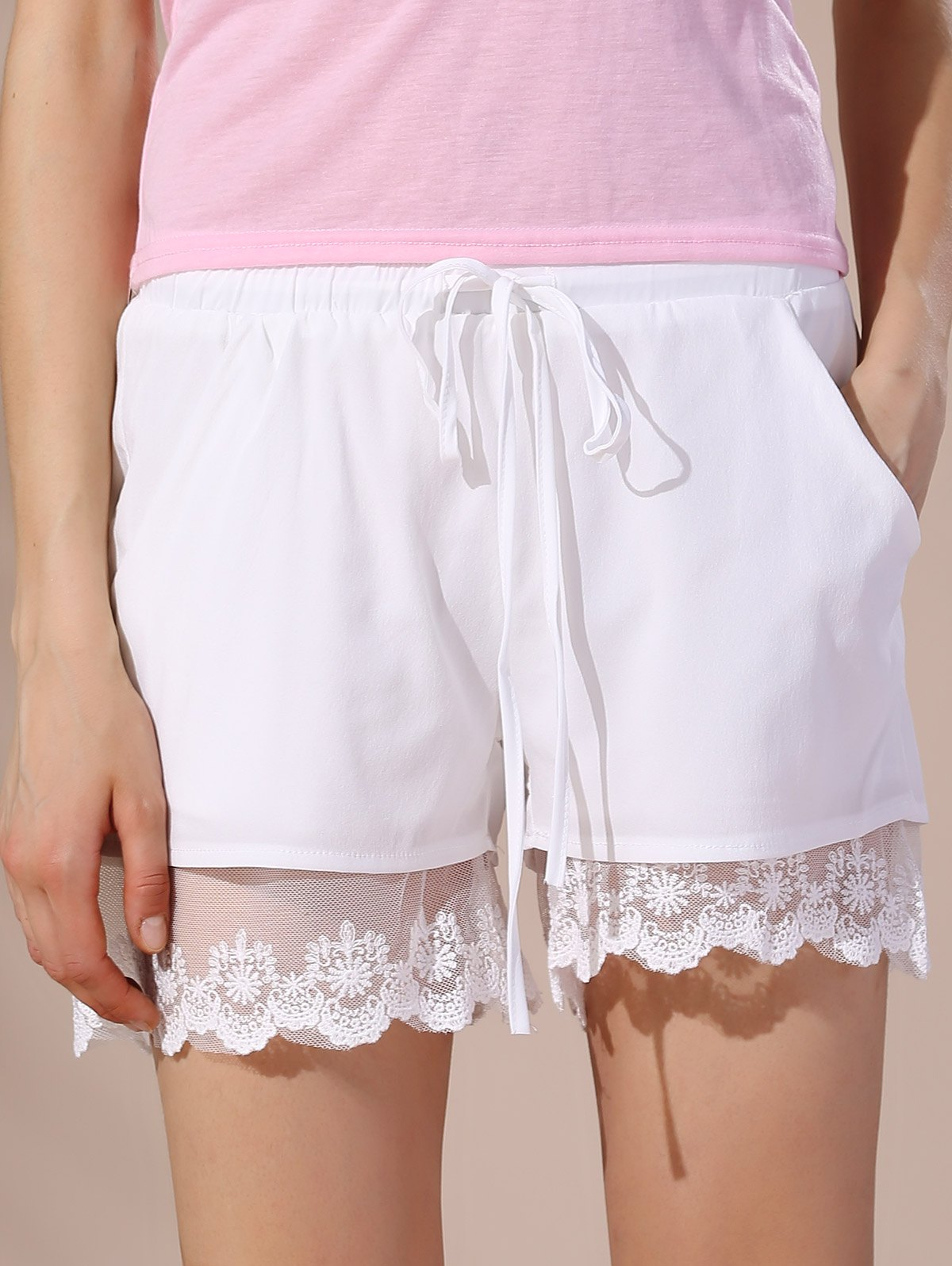 Casual Women's Lace Embellished Drawstring Shorts - WHITE S