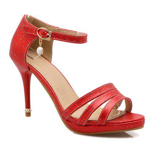 Trendy Ankle Strap and Pendant Design Women's Sandals - RED 37