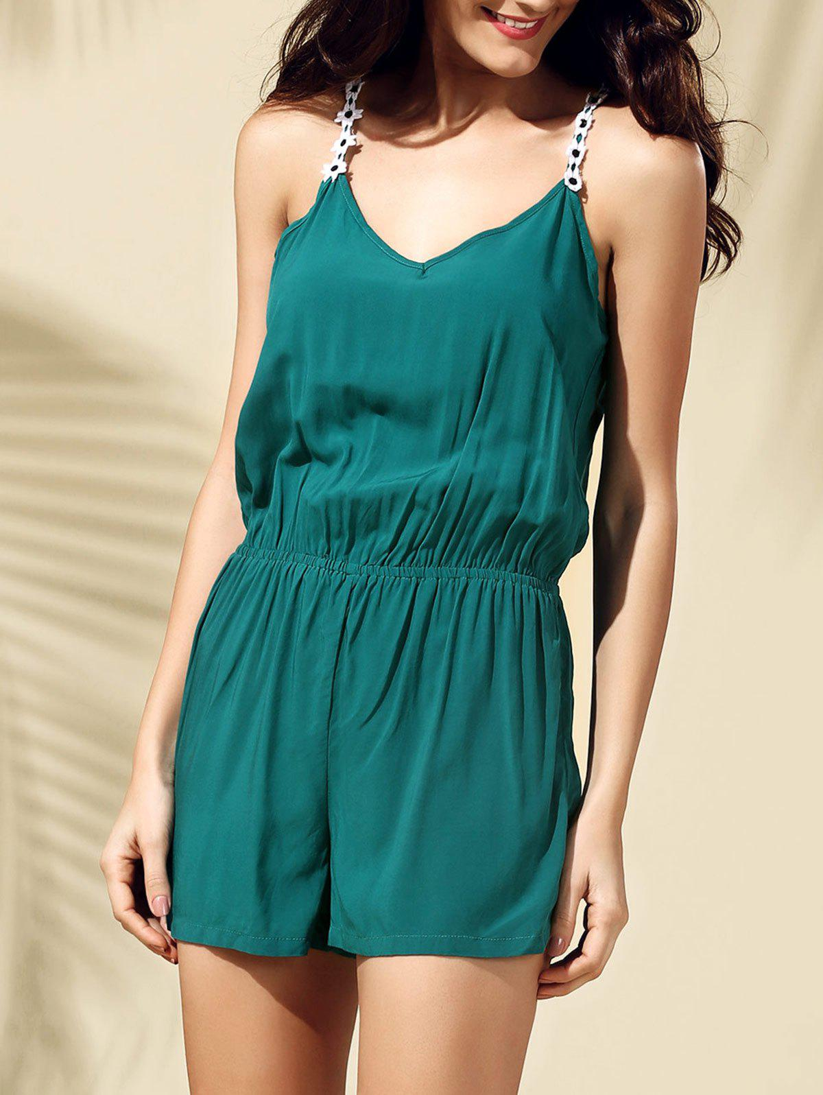 Casual Backless Laciness Women's Romper - BLACKISH GREEN M