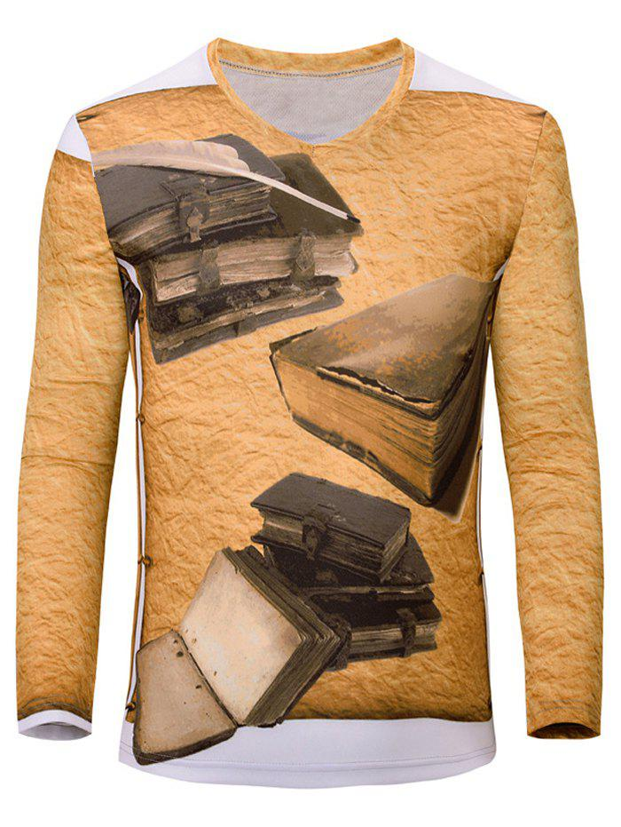 Casual 3D Book Printed Men's Long Sleeves T-Shirt - EARTHY S