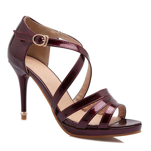 Stylish Patent Leather and Cross Straps Design Women's Sandals - WINE RED 36