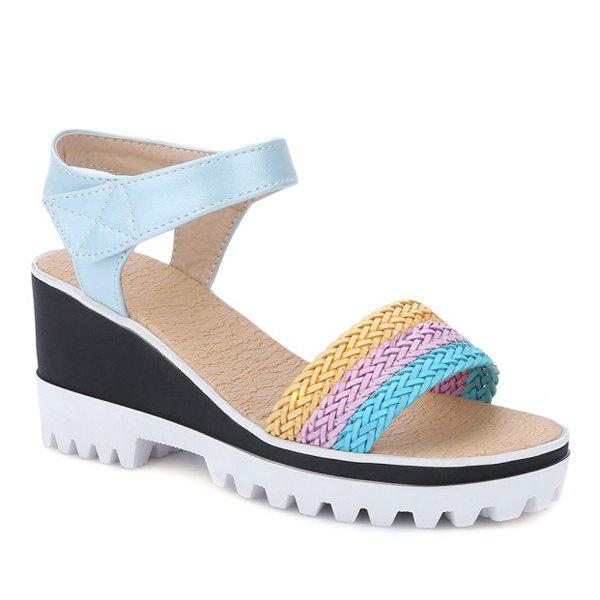 Leisure Weaving and Color Block Design Women's Sandals - BLUE 36