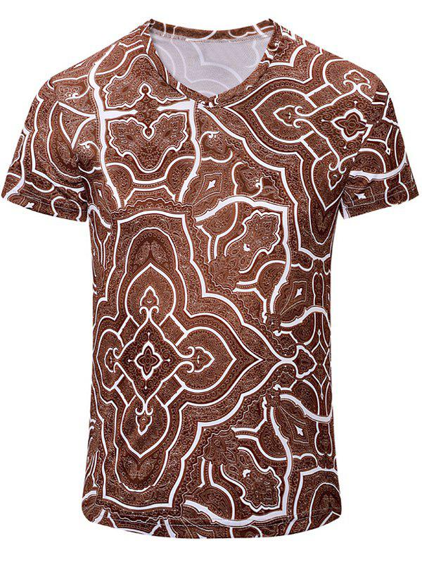 Casual Geometric Figure Printed Men's Short Sleeves T-Shirt - DEEP BROWN M