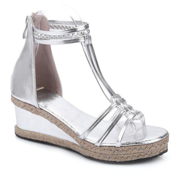 Fashionable Weaving and T-Strap Design Women's Sandals - SILVER 37