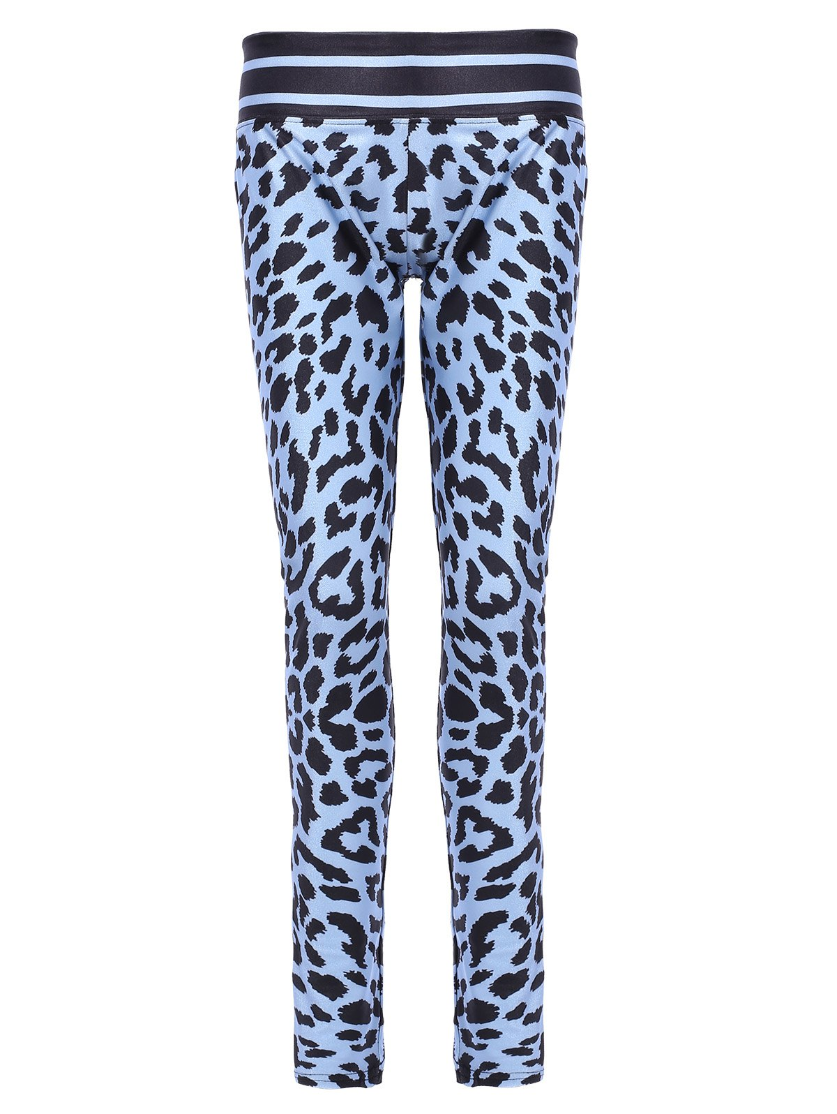 Chic Skinny Leopard Elastic Waist Sport Leggings For Women - AZURE M
