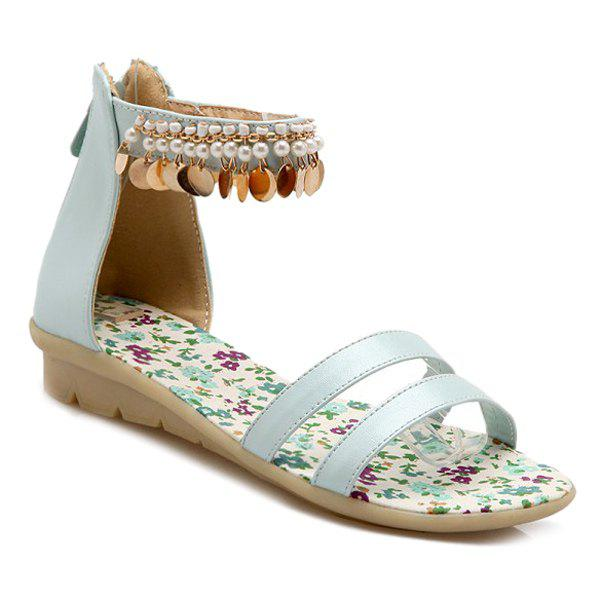 Sweet Beading and Ankle Strap Design Women's Sandals - BLUE 36