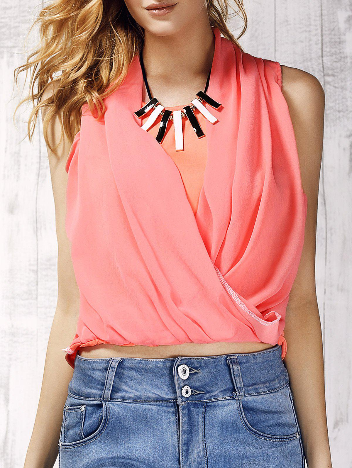 Trendy V-Neck Solid Color Chiffon Spliced Women's Tank Top - LIGHT PINK S