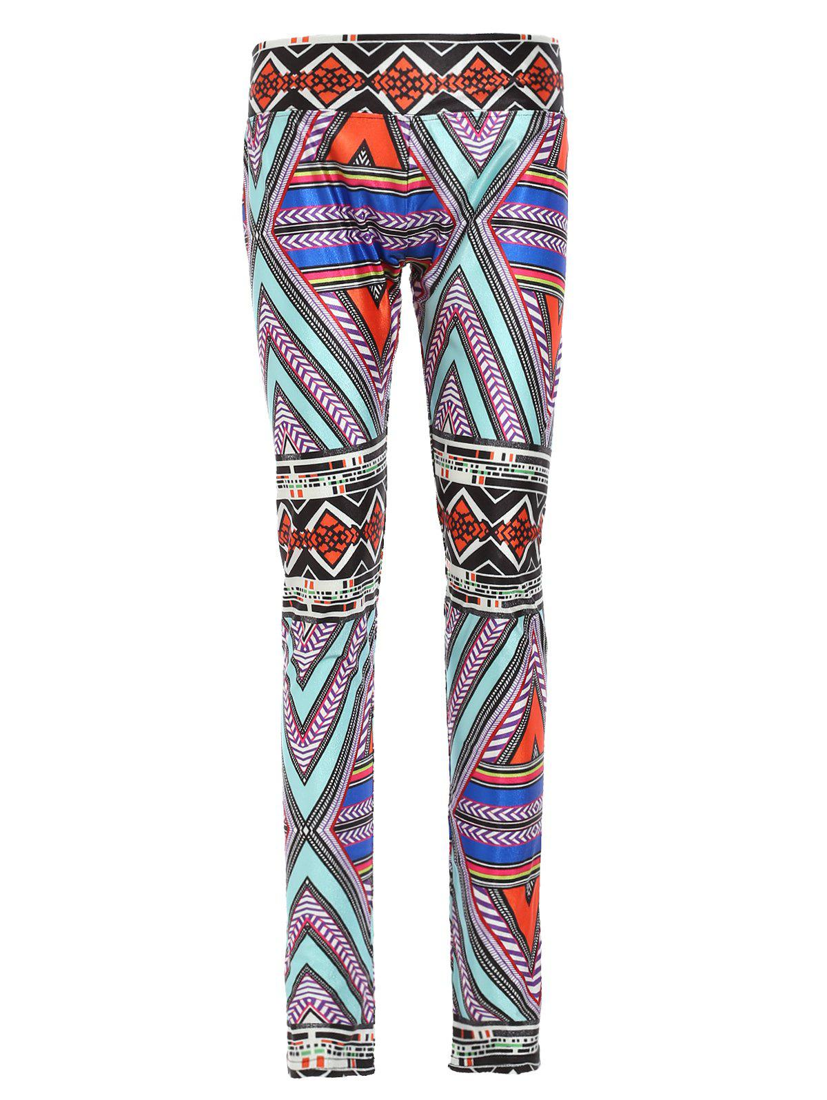 Chic Colorful Geometrical Print Elastic Waist Sport Leggings For Women - COLORMIX M