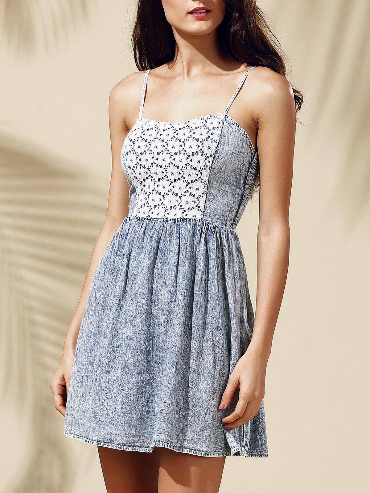 Cute High Waist Lace Spliced Women's Denim Cami Dress - LIGHT BLUE M