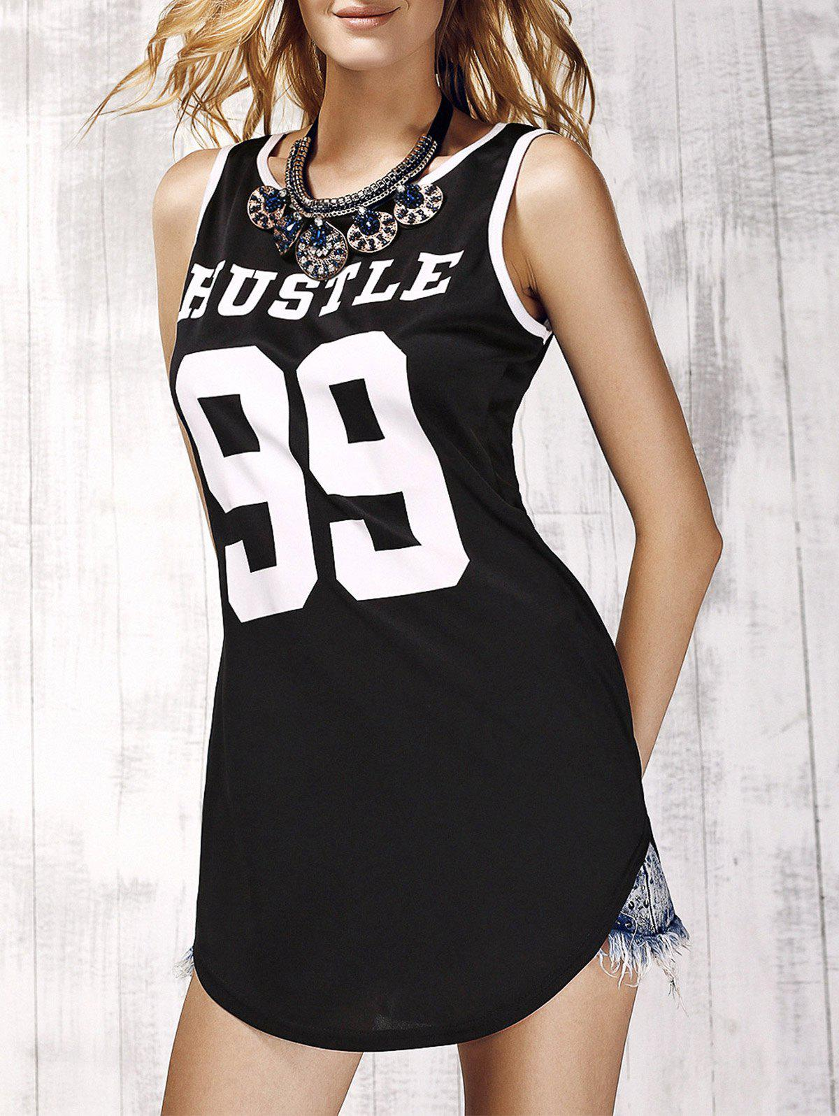 Trendy Sleeveless Round Neck Letter Print Women's Mini Dress - BLACK M