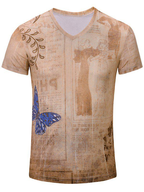 Casual Butterfly Printed Men's Short Sleeves T-Shirt - NUDE M
