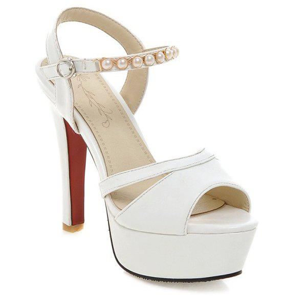 Trendy Platform and Beading Design Women's Sandals - WHITE 39