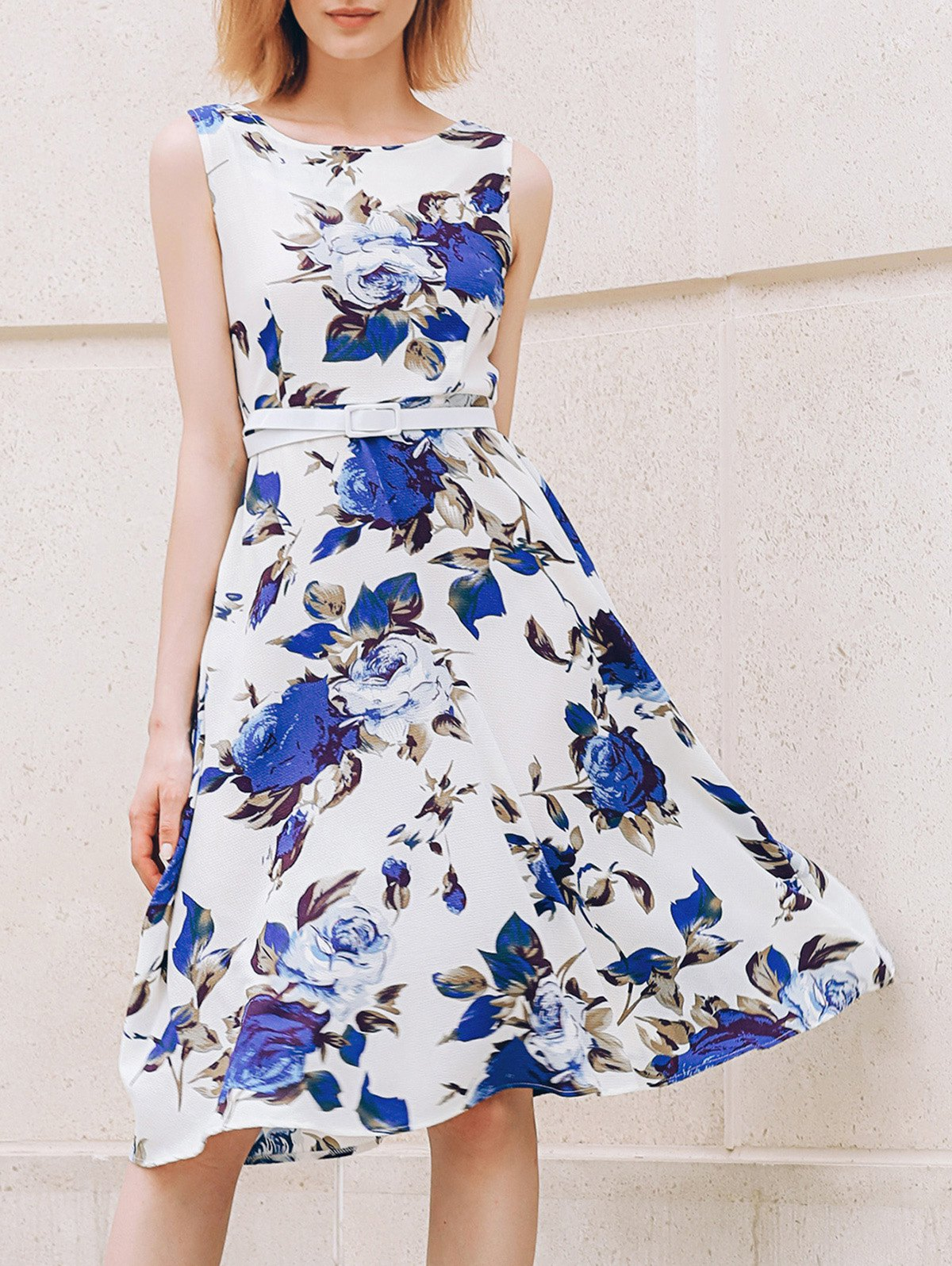 Chic Sleeveless Round Collar Slimming Floral Print Women's Dress - SAPPHIRE BLUE XS