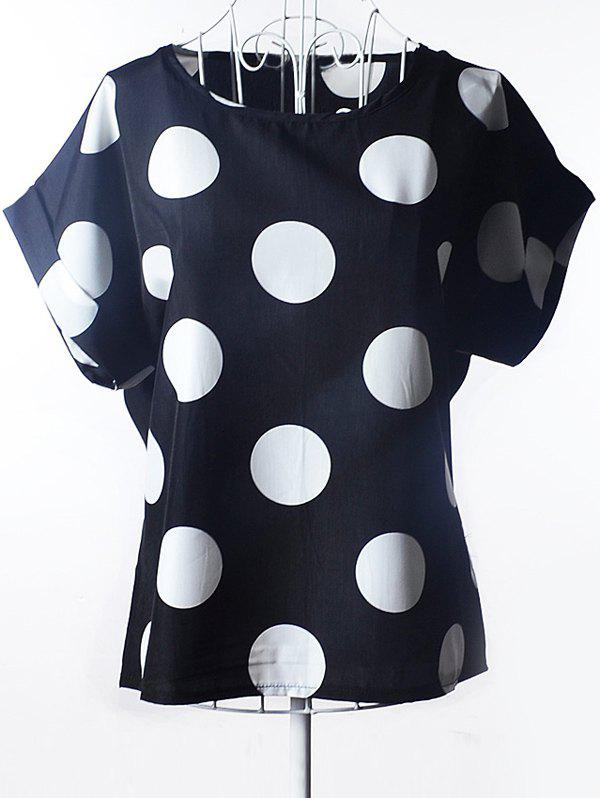 Simple Women's Plus Size Scoop Neck Polka Dot Pattern Short Sleeves Blouse