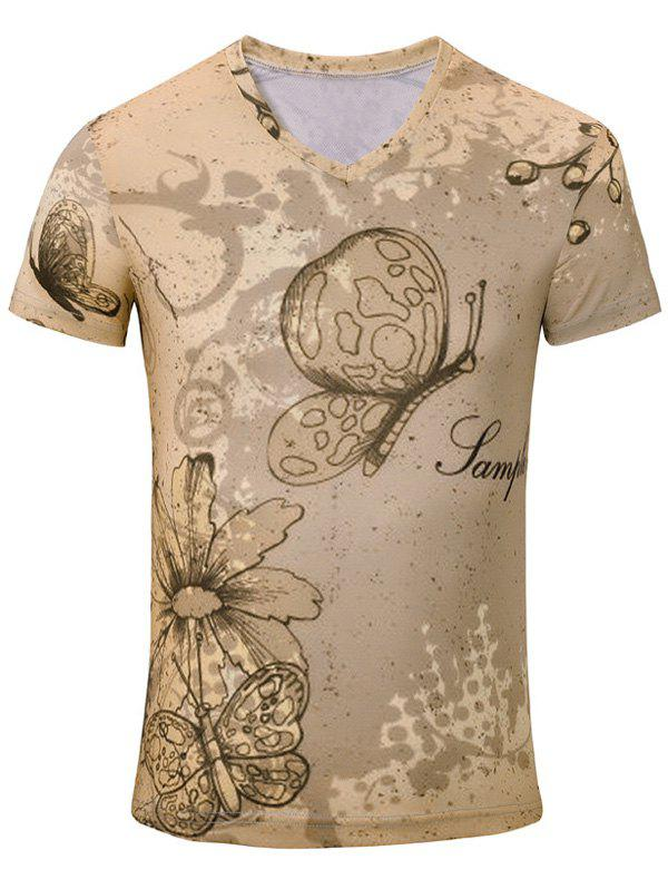 Casual Butterfly Flower Printed Men's Short Sleeves T-Shirt - COMPLEXION S
