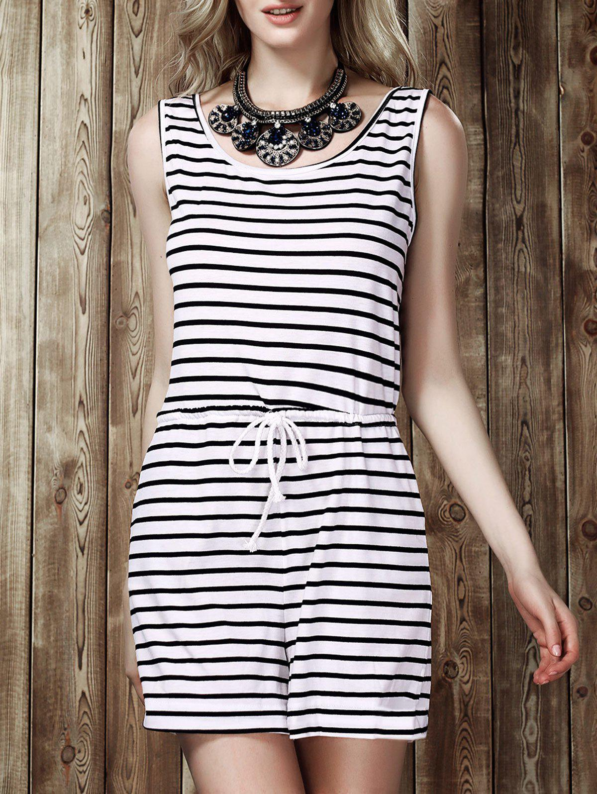Leisure Style Scoop Neck Sleeveless Black and White Stripe Drawstring Women's Playsuit - WHITE/BLACK S