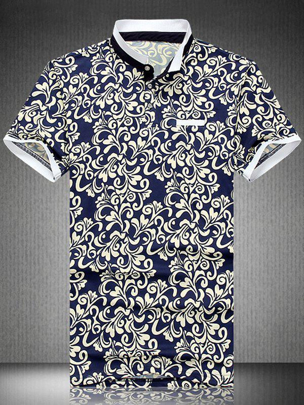 National Style Plus Size Turn-Down Collar Short Sleeve Men's Polo T-Shirt - BLUE XL