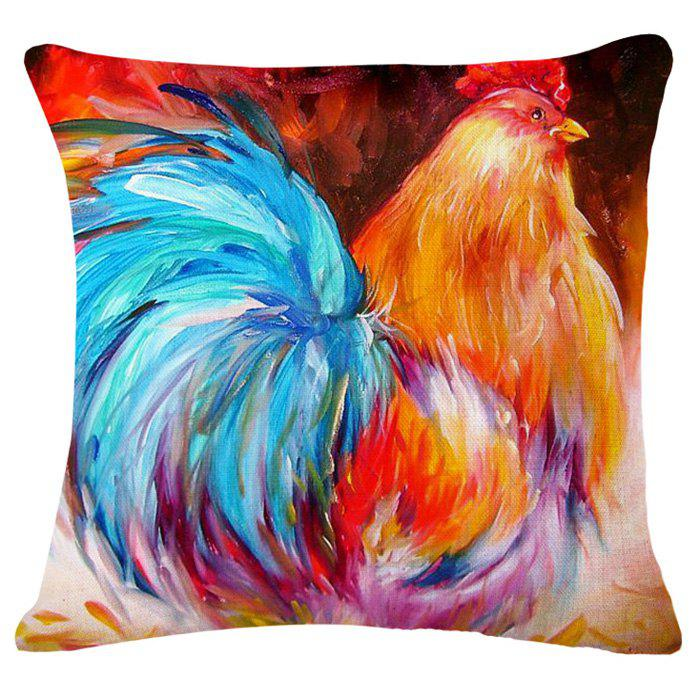Creative Rooster Oil Painting Pattern Square Shape Pillowcase (Without Pillow Inner) - COLORMIX