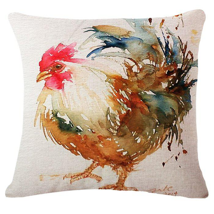 Casual Rooster Oil Painting Pattern Square Shape Pillowcase (Without Pillow Inner) - COLORMIX
