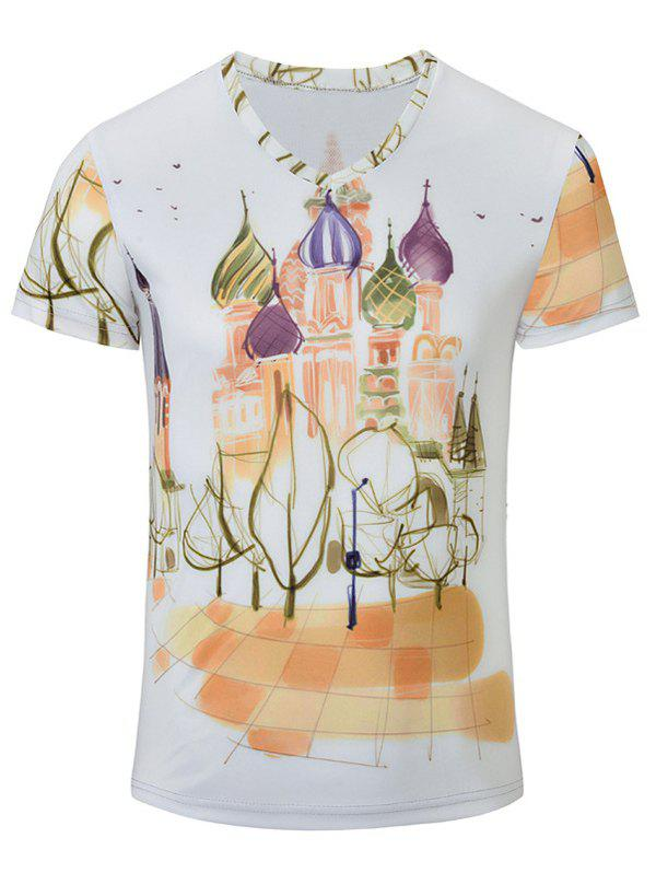 Casual Castle Printed Men's Short Sleeves T-Shirt - WHITE S
