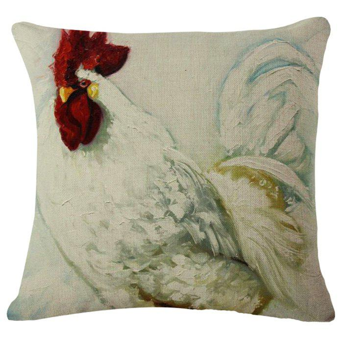 Stylish Rooster Oil Painting Pattern Square Shape Flax Pillowcase (Without Pillow Inner) - COLORMIX