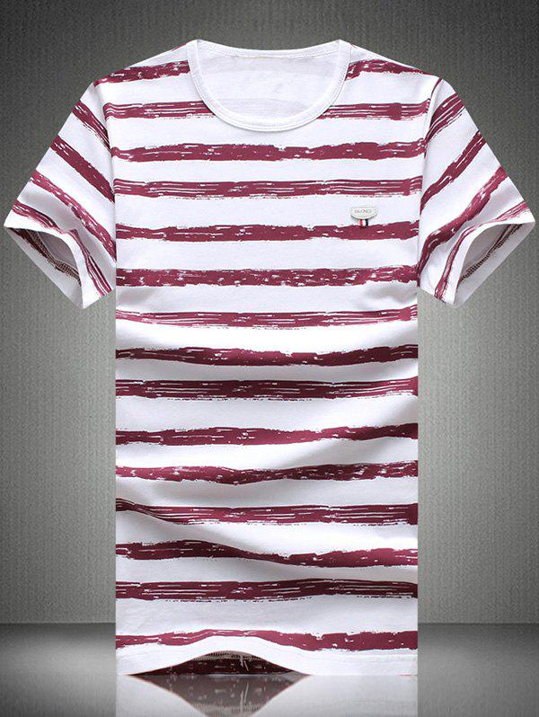 Plus Size Round Neck Striped Print Short Sleeve Men's T-Shirt - RED 2XL