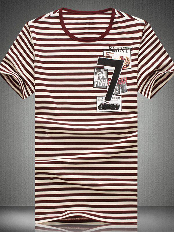 Plus Size Round Neck Striped Collages Print Short Sleeve Men's T-Shirt