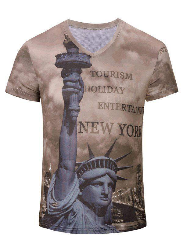 Casual Short Sleeves 3D Statue of Liberty Printed T-Shirt For Men