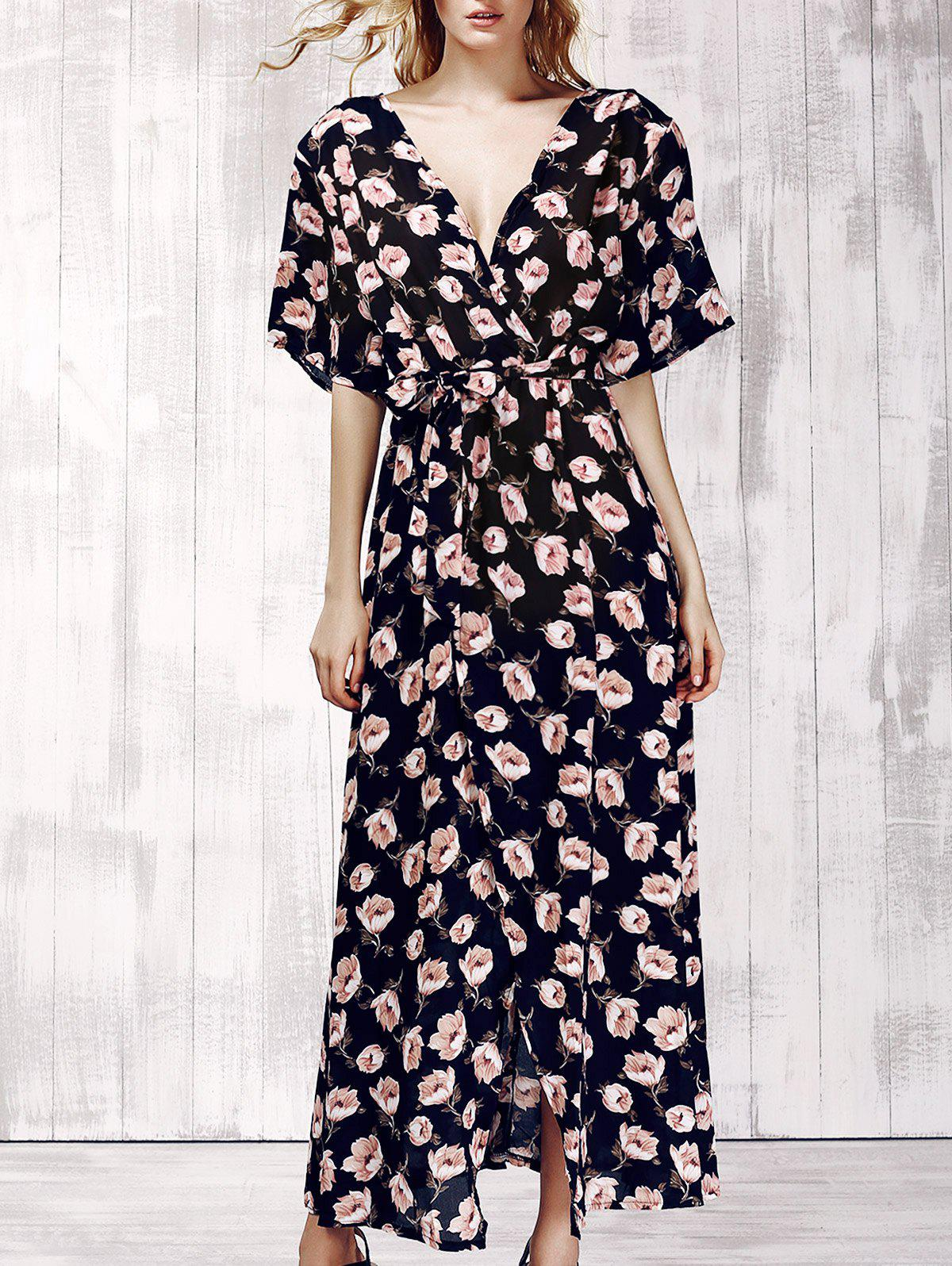 Stylish Women's Plunging Neck Short Sleeve Floral Print Maxi Dress