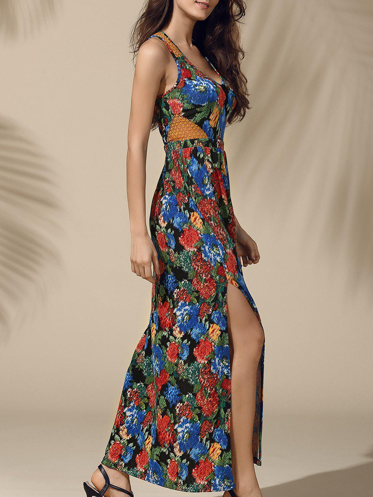 Attractive High Slit Floral Print Women's Maxi Dress - COLORMIX M