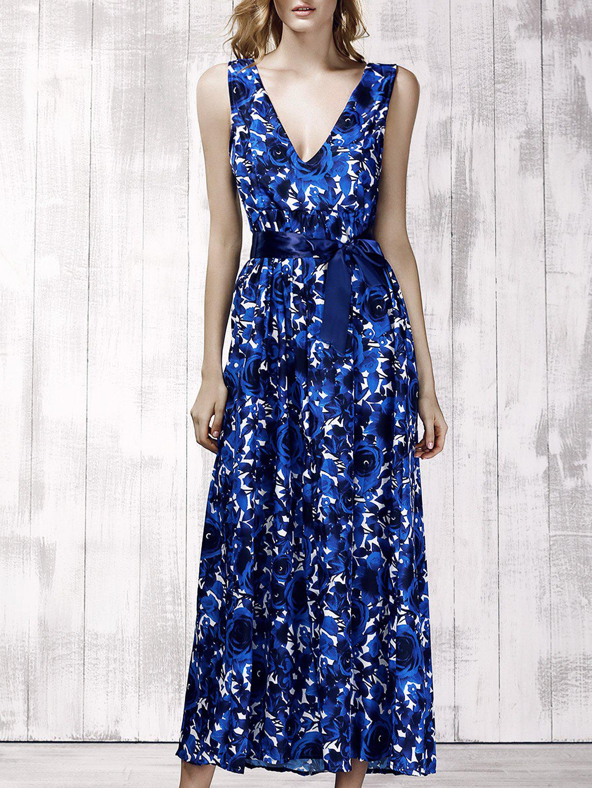 Stylish Women's Plunging Neck Sleeveless Floral Print Maxi Dress - DEEP BLUE S