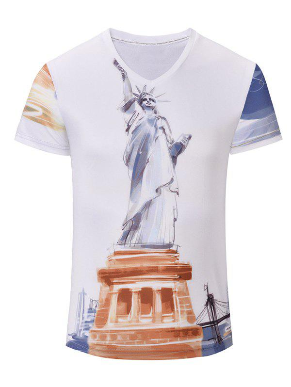 Trendy Men's Statue of Liberty Printed Short Sleeves T-Shirt - WHITE S