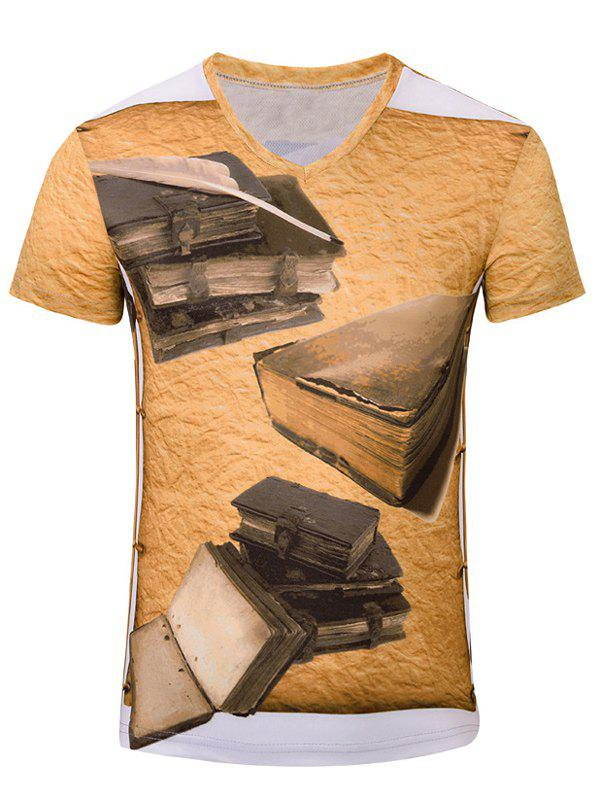 Trendy Men's 3D Book Printed Short Sleeves T-Shirt - EARTHY S