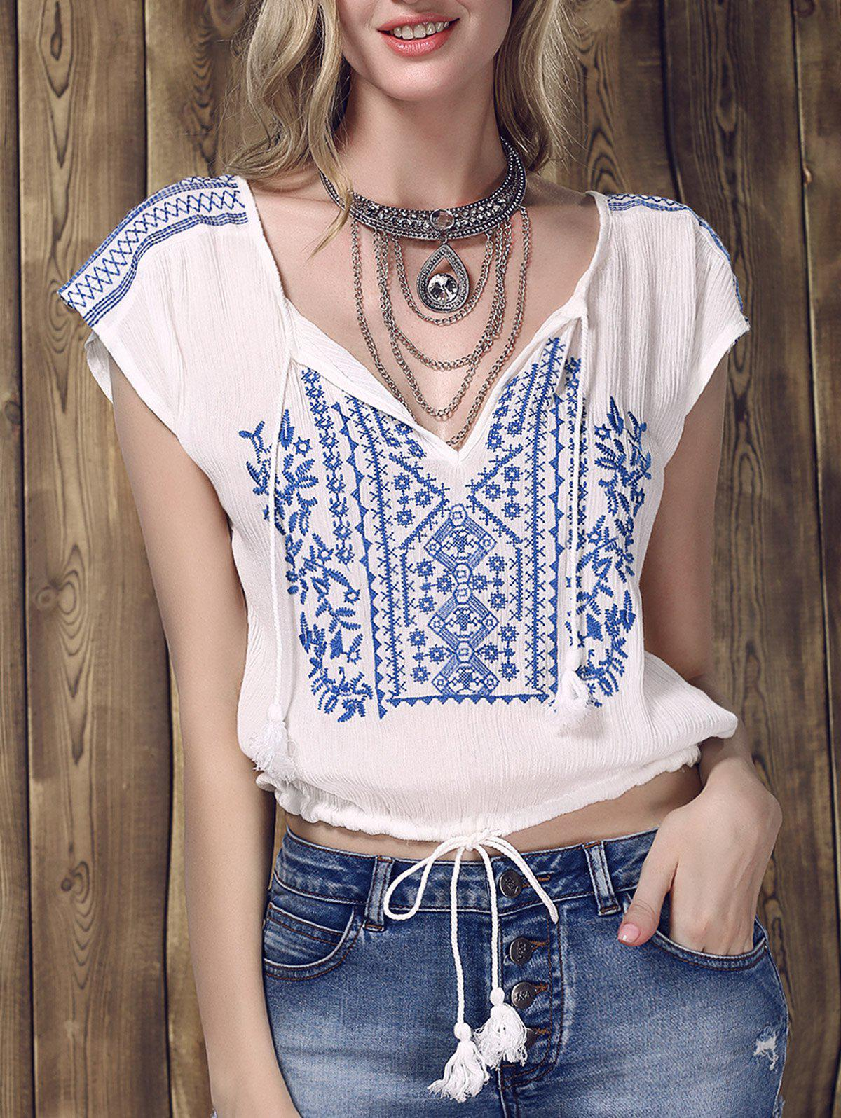 Stylish Women's V-Neck Embroidered Short Sleeve Drawsting Crop Top - WHITE L