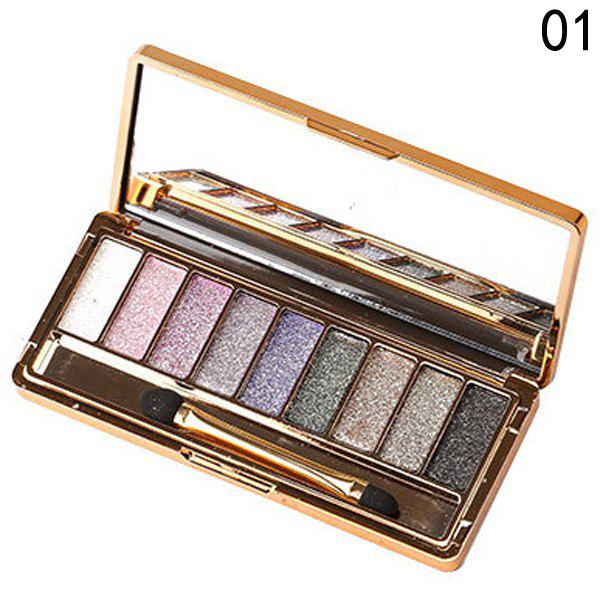 Cosmetic 9 Colours Shimmery Diamond Eye Shadow Palette with Mirror and Brush -